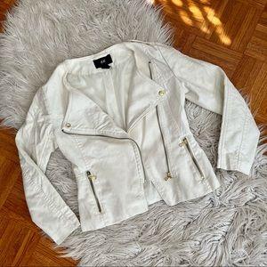 H&M white moto jacket with gold hardware US 4
